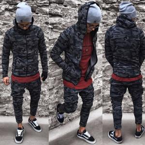 2018 Мода мужская повседневная стильный камуфляж с длинным рукавом хлопчатобумажная смесь куртка тонкий фитнес камуфляж топы