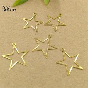 BoYuTe (200 Pieces / Lot) 4 색 17MM Star Charms Pendant 도매 DIY 스탬핑 황동 쥬얼리 재료