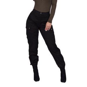 2020 femmes Cargo Pants Safari Femme Style Pantalon noir avec poches latérales Femme Casual taille haute Bouton Pantalons