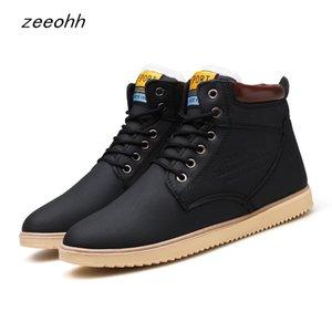 2019 últimas outono e inverno quente botas de alta qualidade estilo sapatos de trabalho ocasional PU homens de couro atado vaia dos homens confortáveis