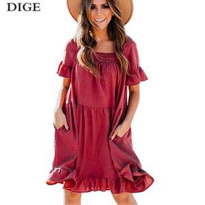 2020 Dresses Women Summer Femme Robe Vestidos De Verano Bodycon Sexy Ruffle Swing O-Neck Dress Clothes B0670