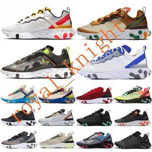 2020 gravada pelas costuras Reagir Elemento 87 55 Mens Running Shoes Equipe Red Triple Preto brancos disfarçados mulheres treinadores desportivos Sneakers Tamanho 36-45