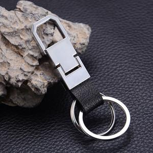 Лучший классический дизайн Mens бизнес подарков черный кожаный брелок Высокое качество Серебро Металл двойной круг брелок кольцо