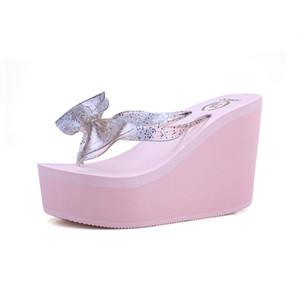 Style de Vogue Fashion Europe Super haut talon avec nœud dame femmes filles stars aiment rose flip coloré Flops Sandales plateforme d'été