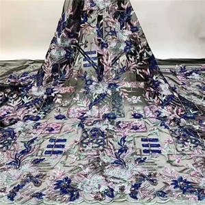 (5yards / серия) NEW Высокое качество 2020 Тюль Блестки французский Нигерийский Lace ткани Вышитые Африканский Royal Blue Lace Fabric