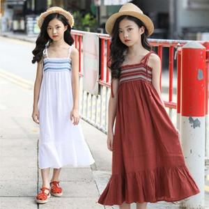 abbigliamento poco ragazze nuovo prodotto estate del pannello esterno capestro stile resort per bambini della ragazza usura del cotone puro maxi gonna per bambini