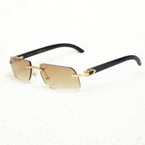 Carter Erkek Kadın Moda Toptan Ucuz Çerçevesiz gözlükler Frame için Balıkçılık Shades Sürüş için Tasarımcı Siyah Buffalo Horn Güneş Men