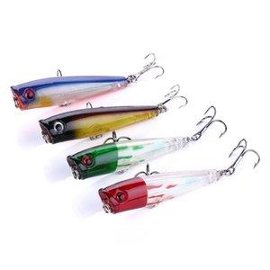 Popper Lure 4color 6.5CM 6.6g 8 # ganci superiore mago acqua Popper esca dura, plastica Crankbait richiamo di pesca, 48pcs Entro laser / lot, freeshipping