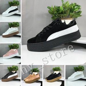 Best PUMA Smash Platform SD Platform Wheat Pink Casual shoes Fenty Cleated Creeper Professional shoes Women PM Suede Creepers