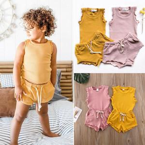 2020 Cross-Border Childrens Clothing New Summer Girls Cor mangas T-shirt Sólidos Shorts duas peças terno Childrens