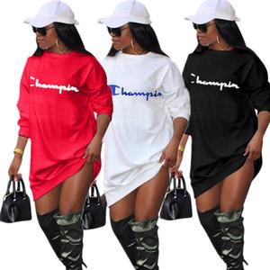 Hoodie das mulheres campeão vestido longo Blusas de manga de tamanho grande soltas Sports Casual Tops Macacões Ladies Home Roupas Sportswear