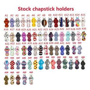 Neopren Chapstick Halter Keychain Mädchen Chapstick Lippenstift Schlüsselanhänger zum Verkauf Geschenk-Bevorzugungen Valentines Geschenk Durable 63 Styles LX0315