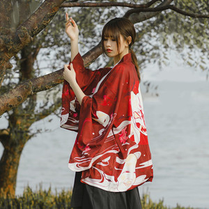 New Japanese Kimono Traditional Yukata Women Casual Anime Printing Shirt Sunscreen Clothes Kimonos Men Street Cardigan Wearcoat