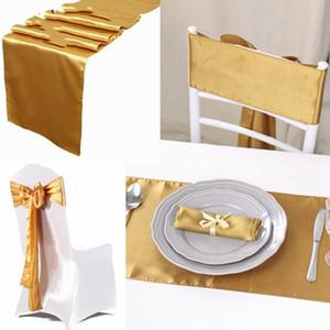 친환경 30cmx 275cm 10 개 새틴 테이블 러너 웨딩 장식 22 개 색상 홈 테이블 러너 액세서리에서 최고의 가격