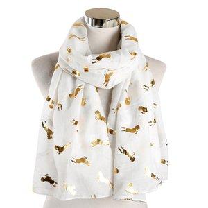 FOXMOTHER Новый дизайн моды блестящий металлический белый розовый серый золотой фольги с блестками бегущий конь шарф женщин