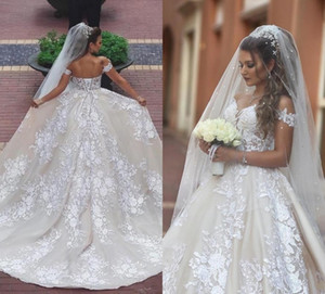 Disse Mhamad Rendas Vestidos de Casamento 2019 Apliques Fora Do Ombro Princesa Vestidos De Noiva Lace Up Voltar Conde Train Wedding Beach Dress