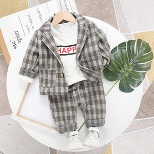 Spring Polyester Plaid Suit Infant British Suit Jacket Trousers Single Breasted Two-piece w