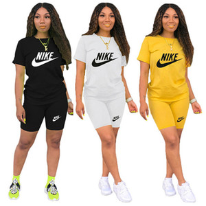 Women Designer Brand Summer Two Piece Set Short Sleeve T-Shirt+Shorts Letter Sports Suit Crew Neck Outfits Fashion Jogging Suit DHL 3435