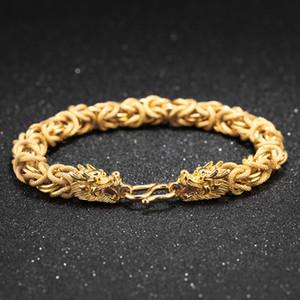 جديد مجوهرات رجالية سوار الذهب مطلي النحاس التنين صفعة ربط سلسلة معصمه الإسورة الأساور زي المصوغات الرجال الاكسسوارات هدية