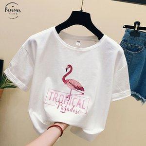 Plus Fashion Cool Flamingo Stampa Casual T T T 2019 HARAJUKU Dimensione Vrouwen Camicie Zomer Vrouwelijke Katoen Top Still Shirt Vrouwen Shirt NOSDK