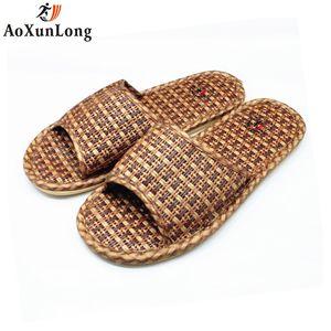 AoXunLong verano hombres Zapatillas ratán tejido casa Zapatillas Unisex interior hombres zapatos tamaño 36-44 Zapatillas Hombre Flip Flop hombres