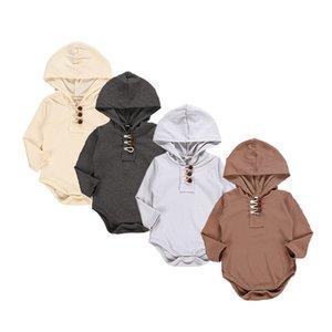 Mameluco con capucha para bebé recién nacido Ropa de diseño para niños Otoño Niñas Sólido tejido de manga larga Onesies Baby Boy Spring Casual Jumpsuit 06