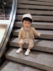Nova moda bebê rompers primavera meninos meninas de verão com chapéu de balde e do bebê recém-nascido jumpsuits conjuntos de roupa do bebê cardigan