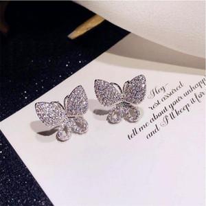 الحلو لطيف فاخر مجوهرات متألقة 925 فضة مهد الأبيض الياقوت CZ الماس الأحجار الكريمة المرأة الفراشة الزفاف مربط القرط هدية