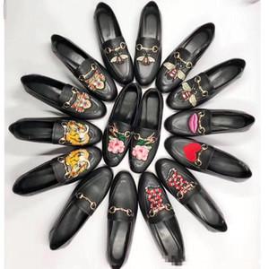 Luxe en cuir véritable et chaussures plates Saison printemps-automne 2018 Fermoirs en métal Chaussures pour femmes Hommes et femmes Talon plat
