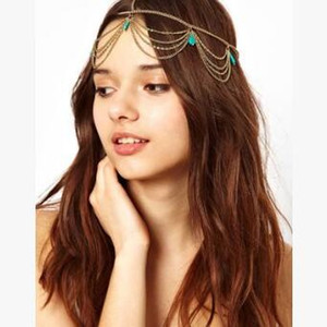 60pcs lot DIY Alloy Bohemian Eyebrows Pendant Head Chain Turquoise Tassel Frontlet Pearl Hair Styling Tools Accessory HA921