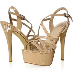 LOSLANDIFEN 2020 NEW 14CM Platform High Heels Sandals Sexy Ankle Strap Open Toe Gladiator Party Dress Women Shoes Plus Size 42 Y200620