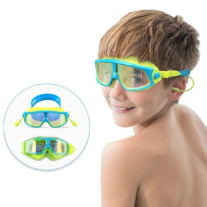 6 цветов детские плавательные очки HD противотуманные гальваника большая рамка прозрачный ослепительный цвет плоские водонепроницаемые УФ-очки для плавания