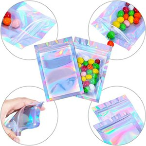 3.5x6.3in 1000pcs stand up resealable bags Holographic resealable bags Translucent Pouches designs Dress packaging bag Qixpm uPicS