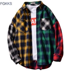 Camicie a scacchi FGKKS uomini di marca Trend Primavera Autunno Nuovo Uomini Hip Hop camicia a maniche lunghe di modo maschio Camicia Casual Top