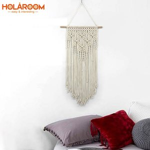 Macrame Tapestry Wall Hanging Tapestries Woven Artwork Boho Macrame Wall Cloth Cotton thread with Wooden Stick Xmas Home Decor CX200630