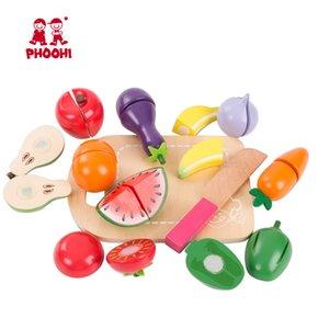 Kinder Holz Cutting-Frucht-Gemüse-Spielzeug-Kind Pretend Küchenzubehör Lebensmittel Spiel Spielzeug PHOOHI CX200605 Spiele