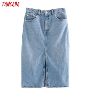 Tangada 2020 women solid blue denim skirt vintage front open summer female elegant chic skirts 3L31