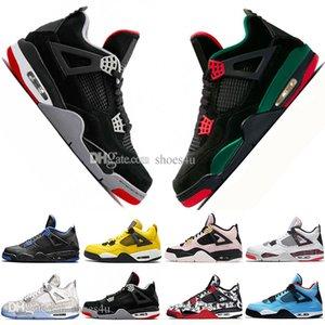 Drop Shipping New Bred 4 4s What The Cactus Jack Laser Ali Scarpe da Basket uomo Denim Blue Pale Citron Sport da uomo Designer Sneakers 36-47