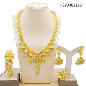 Yulaili Fashion Italian Women Crystal Flower Shape Necklace Earrings Dubai Gold Jewelry Sets Wedding Dress Bride Accessories