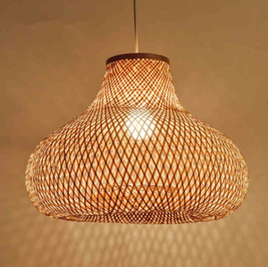 Japanische 40cm Hand Bambus Wicker Rattan Gourd Shade Pendelleuchte LED-Befestigungshängedeckenleuchte Plafon Esstisch Zimmer LLFA
