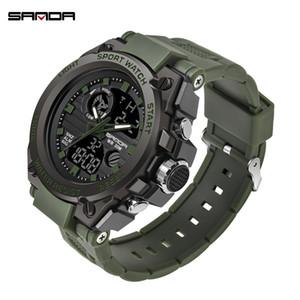 SANDA Fashion Mens Sports Orologi professionali Mens Digital LED Army Dive Guarda Casual Electronics Orologio da polso Relojes