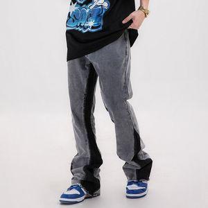 Streetwar Retro Denim Flare брюки мужчины и женщины Сыпучие Промытые рваные джинсы Брюки Hip Hop Багги срощенной Жан Pants
