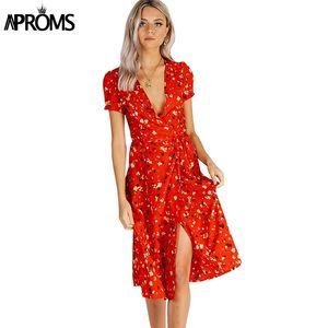 Aproms сладкий красный цветочный принт-line Dress лето V-образным вырезом Wrap галстук-бабочку Сплит Dress 90s уличная повседневная платья Vestido сарафан Y19012201