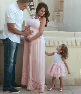 Halter Lace A-Line Prom Vestidos de cintura império 2020 Mulheres grávidas Especial Ocasião Partido Vestidos Plus Size personalizado