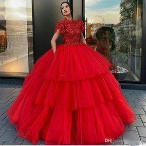 Red abgestufter Rock-Abschlussball-Kleid-Ausschnitt Kurzarm-Ballkleid-Berühmtheits-Abend-Kleider Tulle-Kuchen-Rock-formale Partei trägt Roben de Soiree