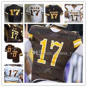 Günstige Men s Individuell Wyoming Cowboy 17 Josh Allen NCAA College Football, Braun, Weiß Stitcehd Großhandel Jerseys S-3XL