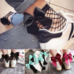 File Ayak bileği Yüksek Çorap Bow Tie Çorap 2019 Moda kadın Kızlar Fishnet Topuk Büyük yay Mesh dantel çorap C6118
