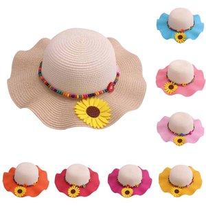New Falbala Sunflower Children Sun Hats Spring Summer Beach Straw Hat Head Circumference 52 cm