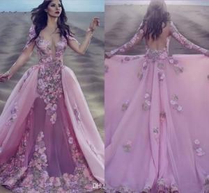 2020 Seksi Arapça Pembe Dantel Uzun Kollu Mermaid Gala Balo Elbiseler Ayrılabilir Çıkarılabilir Etek Hint Çiçek Overskirt Balo Abiye