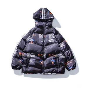 Winter men down jacket hip hop rap street dance printed letters hooded jacket thickened couple cotton-padded jacket